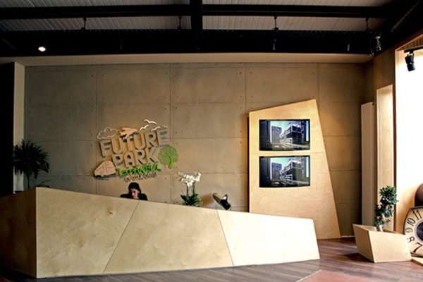 FUTURE PARK - duvar kaplama panel giraba beton satış ofisi resepsiyon danışma arkası