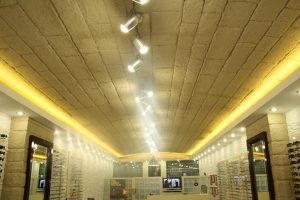 OPTİK PLAZA - iç cephe duvar kolon tavan kaplama panel taş shayka kerme