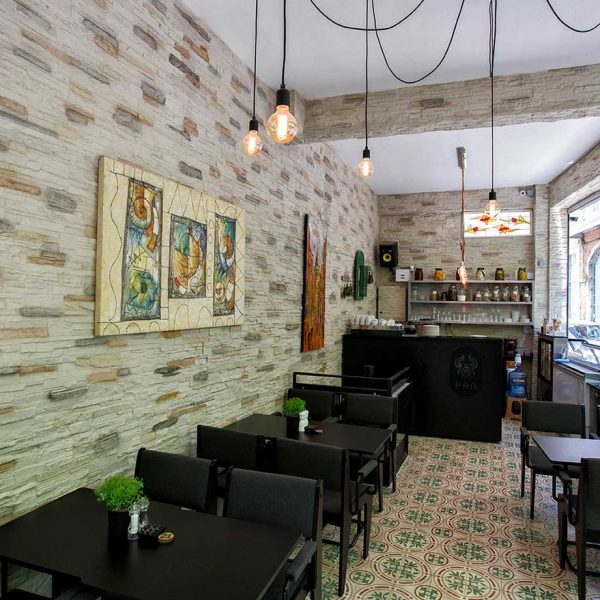 PAN CAFE - iç cephe dış cephe duvar kolon kiriş kaplama panel taş pergandi