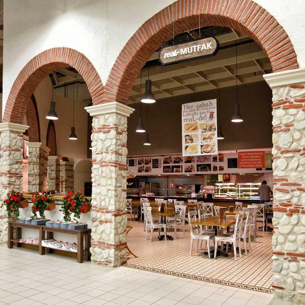REAL iç cephe duvar kolon kaplama panel taş ravelle, kemer uygulaması tuğla kerme