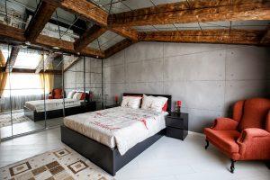 KONUT YATAK ODASI - duvar kaplama panel giraba beton ev yatak odası yatak başı