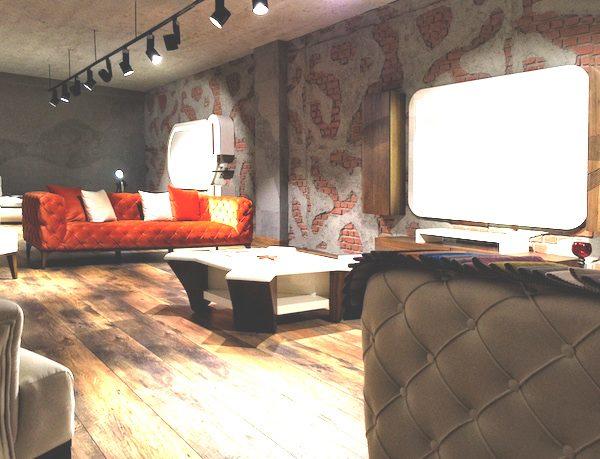 İNTER MOBİLYA - duvar kolon kiriş kaplama panel nuvola beton tuğla tasarım showroom mağaza