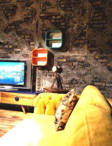 İNTER MOBİLYA - duvar kolon kiriş kaplama panel nuvola beton tuğla tasarım showroom mağaza tv ünitesi arkası