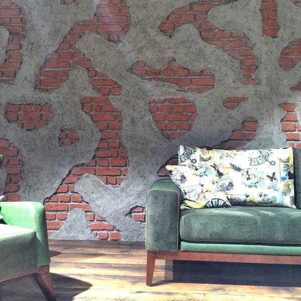 İNTER MOBİLYA - duvar kolon kiriş kaplama panel nuvola beton tuğla tasarım showroom mağaza salon