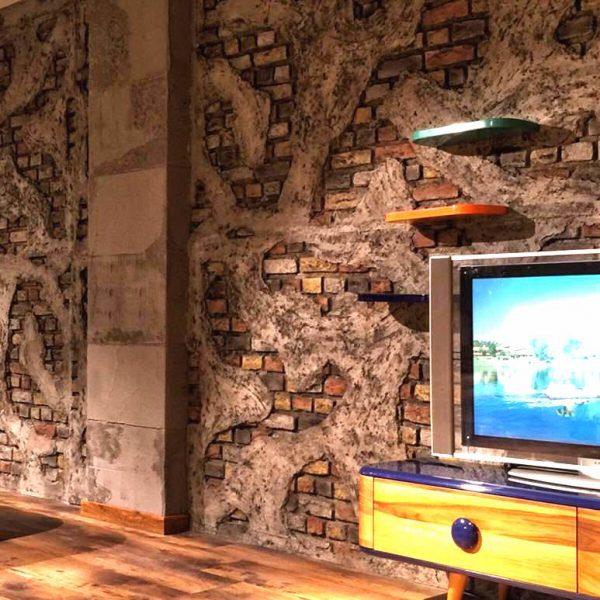 İNTER MOBİLYA - duvar kolon kiriş kaplama panel nuvola beton tuğla tasarım showroom mağaza televizyon arkası