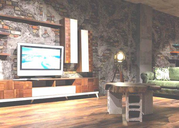İNTER MOBİLYA - duvar kolon kiriş kaplama panel nuvola beton tuğla tasarım showroom mağaza tv ünitesi arkası kaplama salon