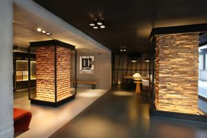 DC PANEL SHOWROOM - iç cephe-duvar,kolon,kiriş- kaplama panel - beton, tuğla, ahşap - galita, burton akro , fiaba